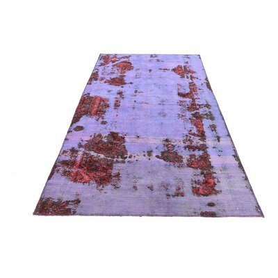 One-of-a-Kind Muhammad Vintage Persian Hand Woven 100% Wool Rectangle Violet Oriental Area Rug