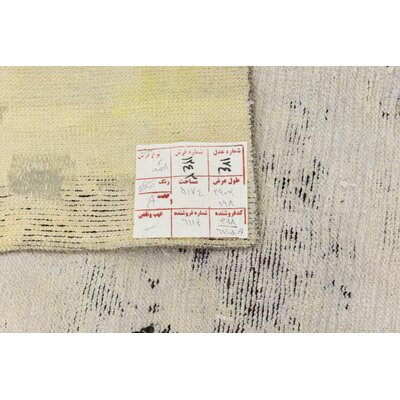 One-of-a-Kind Sela Traditional Vintage Persian Hand Woven Wool Distressed Ivory Area Rug with Cotton Backing