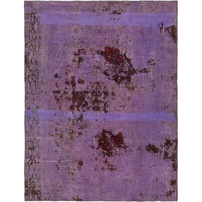 One-of-a-Kind Muhammad Vintage Persian Hand Woven Dyed 100% Wool Rectangle Violet Oriental Area Rug