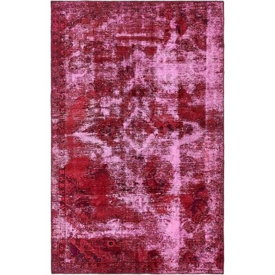 One-of-a-Kind Sela Traditional Vintage Persian Hand Woven Wool Distressed Red Floral Area Rug