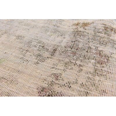 One-of-a-Kind Sela Vintage Persian Hand Woven 100% Dyed Wool Distressed Ivory Area Rug