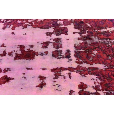 One-of-a-Kind Sela Vintage Persian Hand Woven Wool Distressed Red Floral Area Rug