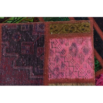 One-of-a-Kind Sela Traditional Vintage Persian Hand Woven Wool Pink/Green Patchwork Area Rug