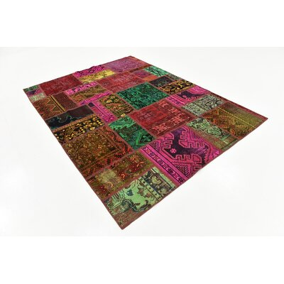 One-of-a-Kind Sela Traditional Vintage Persian Hand Woven Wool Green/Red Patchwork Area Rug
