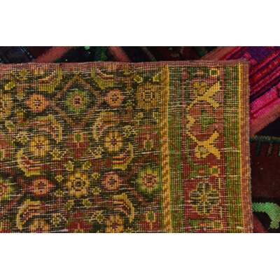 One-of-a-Kind Sela Vintage Persian Hand Woven Wool Red/Green Patchwork Area Rug with Cotton Backing