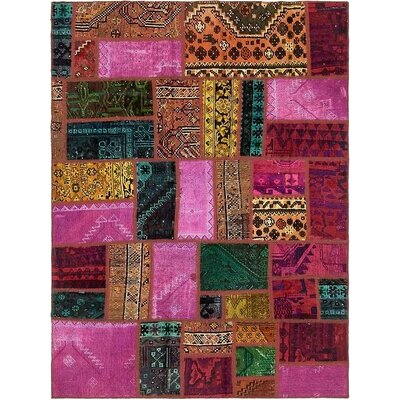 One-of-a-Kind Sela Vintage Persian Hand Woven Wool Purple Patchwork Area Rug