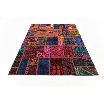 One-of-a-Kind Sela Traditional Vintage Persian Hand Woven Dyed Wool Blue/Red Oriental Area Rug