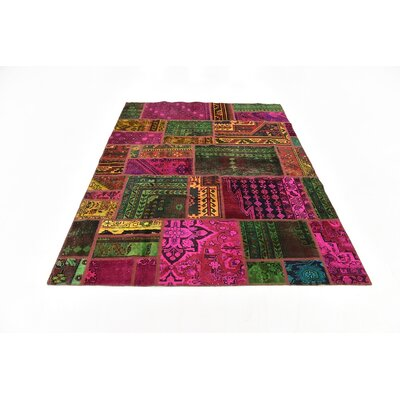 One-of-a-Kind Sela Vintage Persian Hand Woven 100% Wool Pink/Green Patchwork Area Rug