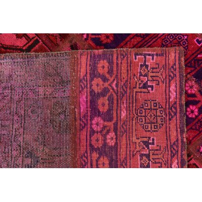 One-of-a-Kind Sela Vintage Persian Hand Woven Wool Red/Pink Floral Patchwork Area Rug