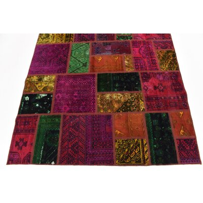 One-of-a-Kind Sela Vintage Persian Hand Woven Dyed Wool Rectangle Red/Green Area Rug