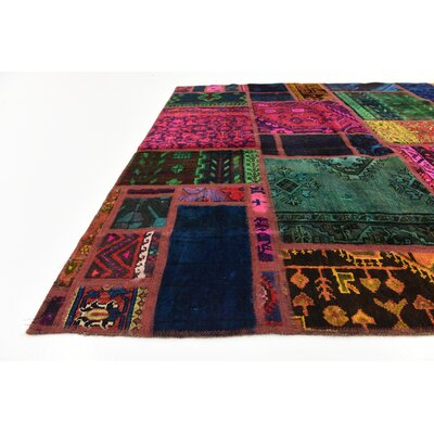 One-of-a-Kind Sela Vintage Persian Hand Woven Dyed Wool Red/Green Patchwork Area Rug