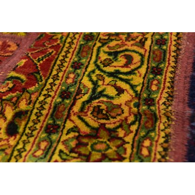 One-of-a-Kind Sela Vintage Persian Hand Woven Wool Green/Yellow Area Rug