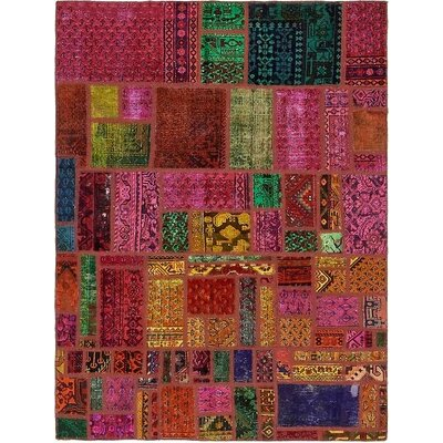 One-of-a-Kind Sela Traditional Vintage Persian Hand Woven 100% Wool Pink/Green Area Rug
