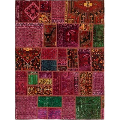 One-of-a-Kind Sela Vintage Persian Hand Woven Wool Red/Pink Floral Area Rug with Cotton Backing