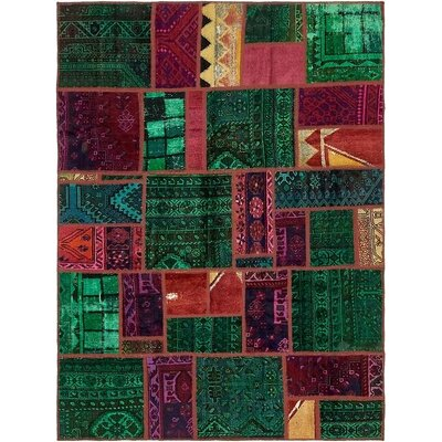 One-of-a-Kind Sela Vintage Persian Hand Woven Wool Green/Pink Area Rug