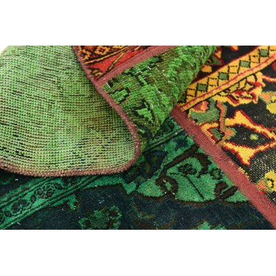 One-of-a-Kind Sela Traditional Vintage Persian Hand Woven 100% Wool Green/Orange Oriental Area Rug