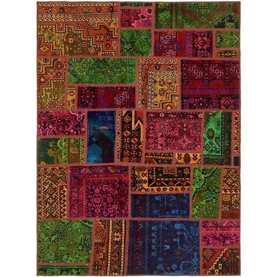 One-of-a-Kind Sela Traditional Vintage Persian Hand Woven 100% Wool Rectangle Green/Orange Oriental Area Rug