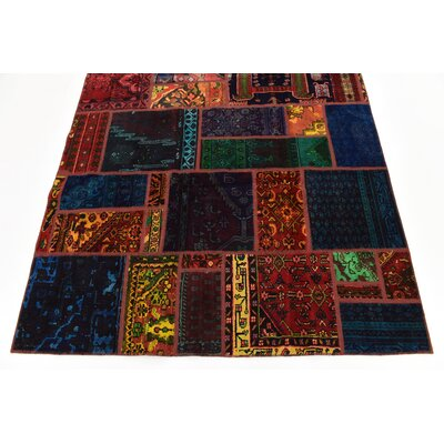 One-of-a-Kind Sela Traditional Vintage Persian Hand Woven Dyed Wool Rectangle Blue/Orange Oriental Area Rug