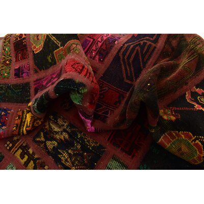 One-of-a-Kind Sela Vintage Persian Hand Woven Wool Green/Red Patchwork Area Rug with Fringe