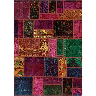 One-of-a-Kind Sela Vintage Persian Hand Woven Wool Rectangle Orange/Pink Patchwork Area Rug