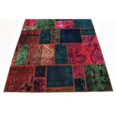 One-of-a-Kind Sela Vintage Persian Hand Woven Wool Green/Red Area Rug with Fringe
