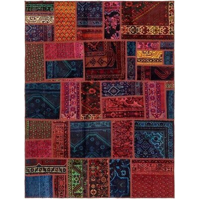 One-of-a-Kind Sela Vintage Persian Hand Woven Dyed Wool Blue/Red Area Rug