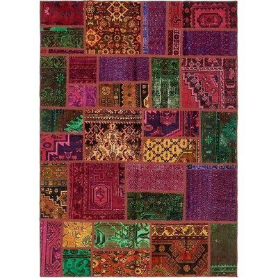 One-of-a-Kind Sela Vintage Persian Hand Woven Wool Rectangle Orange/Red Patchwork Area Rug