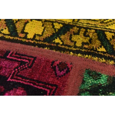 One-of-a-Kind Sela Traditional Vintage Persian Hand Woven Wool Orange/Red Patchwork Area Rug