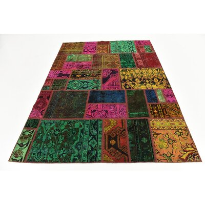 One-of-a-Kind Sela Vintage Persian Hand Woven Wool Rectangle Green/Pink Area Rug