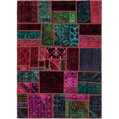 One-of-a-Kind Sela Vintage Persian Hand Woven Wool Rectangle Red/Green Patchwork Area Rug