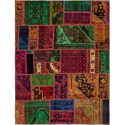 One-of-a-Kind Sela Vintage Persian Hand Woven Wool Orange/Green Patchwork Area Rug