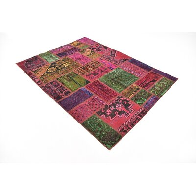 One-of-a-Kind Sela Vintage Persian Hand Woven 100% Wool Rectangle Pink/Green Area Rug