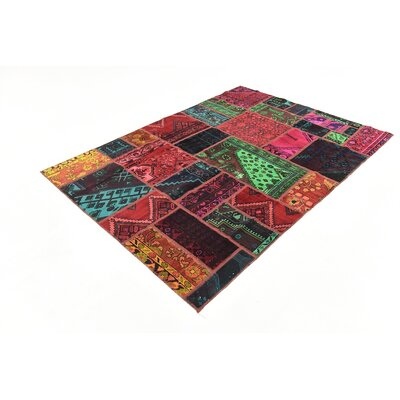 One-of-a-Kind Sela Traditional Vintage Persian Hand Woven Dyed Wool Red/Green Area Rug