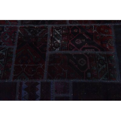 One-of-a-Kind Sela Vintage Persian Hand Woven Wool Navy Blue Patchwork Area Rug