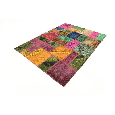 One-of-a-Kind Sela Vintage Persian Hand Woven Wool Rectangle Pink/Green Patchwork Area Rug