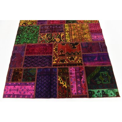 One-of-a-Kind Sela Vintage Persian Hand Woven Wool Pink/Orange Patchwork Area Rug