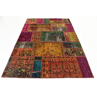 One-of-a-Kind Sela Vintage Persian Hand Woven Dyed Wool Rectangle Blue/Orange Area Rug