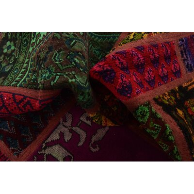 One-of-a-Kind Sela Vintage Persian Hand Woven Dyed Wool Red/Green Area Rug with Cotton Backing