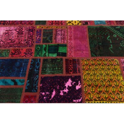One-of-a-Kind Sela Vintage Persian Hand Woven Wool Pink/Green Patchwork Area Rug with Fringe