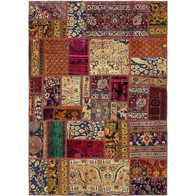 One-of-a-Kind Sela Vintage Persian Hand Woven Wool Yellow/Brown Patchwork Area Rug