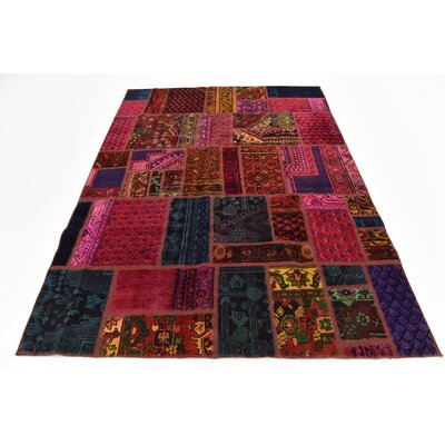 One-of-a-Kind Sela Vintage Persian Hand Woven Dyed Wool Red/Purple Geometric Area Rug