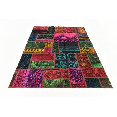 One-of-a-Kind Sela Vintage Persian Hand Woven Wool Pink/Green Patchwork Area Rug
