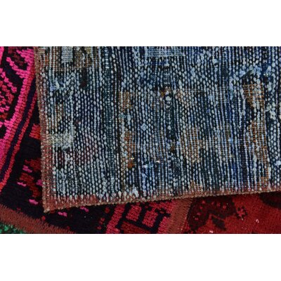 One-of-a-Kind Sela Vintage Persian Hand Woven Dyed Wool Blue/Pink Area Rug