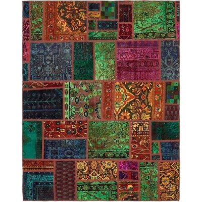 One-of-a-Kind Sela Vintage Persian Hand Woven Wool Rectangle Orange/Green Area Rug