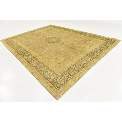 One-of-a-Kind Sela Vintage Persian Hand Woven Wool Beige Floral Border Area Rug