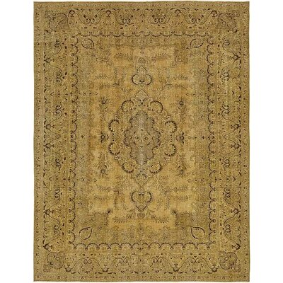 One-of-a-Kind Sela Vintage Persian Hand Woven 100% Wool Beige Oriental Border Area Rug with Fringe