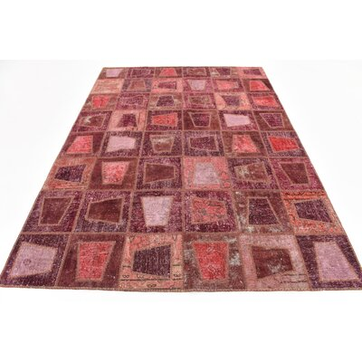 One-of-a-Kind Muhammad Vintage Persian Hand Woven Wool Plum Red Area Rug
