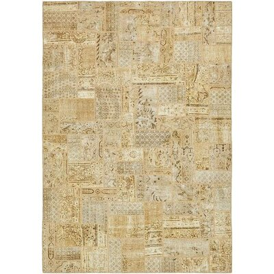 One-of-a-Kind Sela Vintage Persian Hand Woven Dyed 100% Wool Beige Oriental Area Rug