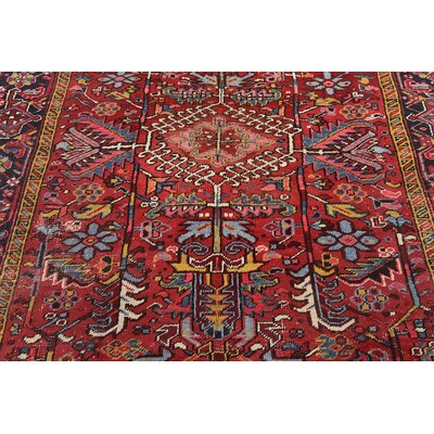One-of-a-Kind Jaida Persian Hand Woven Wool Red Floral Area Rug with Cotton Backing