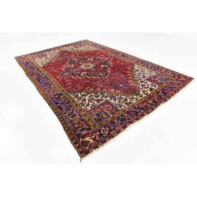 One-of-a-Kind Jaida Persian Hand Woven Wool Red Oriental Area Rug with Cotton Backing